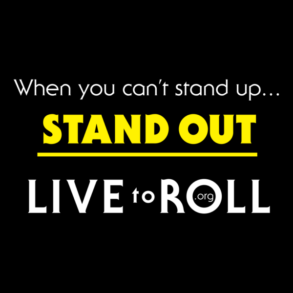 When you can't stand, STAND OUT T-Shirt Black and Yellow Back